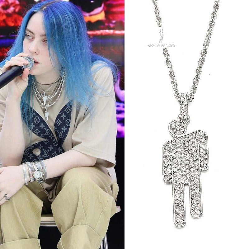 2020 Billie Eilish Blohsh Pendant Necklace Crystal Charms Women Jewelry Prop Cosplay