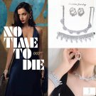 007 James Bond No Time To Die Bond Girl Crystal Zircon Necklace Earrings Bracelet Set Christmas Gift