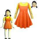 Netflix Drama Squid Game Robot Doll Cosplay Yellow Little Girl Kid Costume Scary Halloween Costume