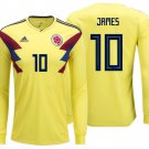 ADIDAS JAMES RODRIGUEZ COLOMBIA LONG SLEEVE HOME JERSEY FIFA WORLD CUP 2018. (S, M, L, XL, 2XL)