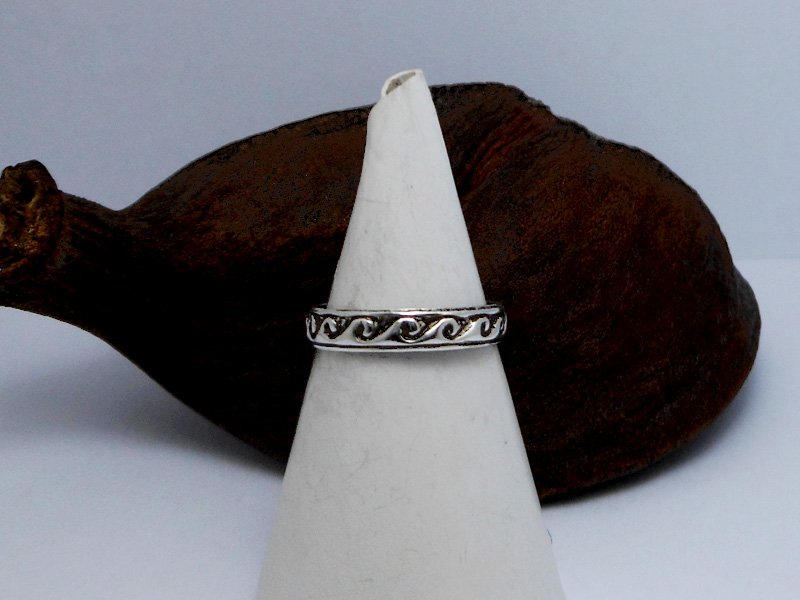 3MM Sterling Silver Small Wave Toe Ring,