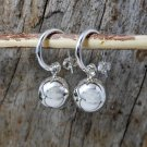 Sterling Silver Ball Charm Drop Hoop Earrings - 14mm