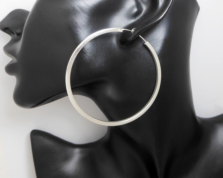 Sterling Silver Hoop Earrings, Circle Earrings 65mm, Silver Loop Earrings, 65mm