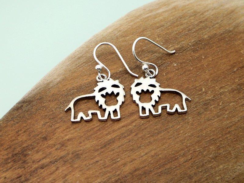 Cut Out Silver Lion Earrings 25mm, Girls Animal Earrings