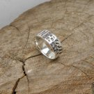 Leaf Textured Silver Ring, Solid Sterling Silver Band Ring
