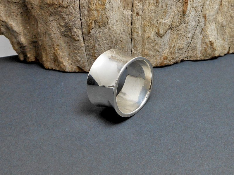 Wide Curved Silver Ring, Handmade Plain Band Ring Size US 9.5