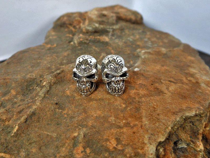 925 Sterling Silver Halloween Earring, Handcrafted Skull Silver Earrings