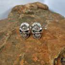925 Sterling Silver Halloween Earring, Handcrafted Skull Silver Earrings