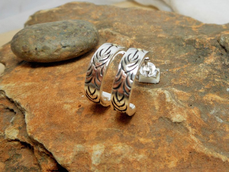 Mens Hoop Earrings, Silver Earrings, Handmade Earrings, Artisan Earrings, Stud Earrings