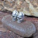 Minimalist Sterling Silver Alien Skull Earrings, Handmade Skull Earrings, Halloween Earrings