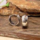 Round Dome Hoop Earrings 12mm, Unisex Silver Huggie Earrings