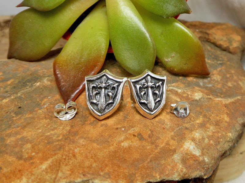 Silver Sword Shield Earrings, Knight Shield Stud Earrings