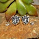 25 Sterling Silver Sword Shield Earrings, Handmade Knight Shield Earrings