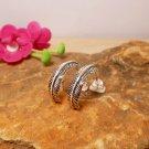 Silver Feather Stud Earrings, Textured Hoop Post Earrings