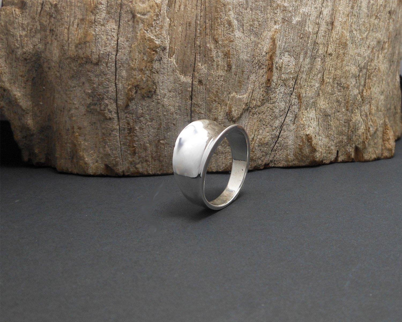 Sterling Silver Saddle Ring, Unisex Plain Ring Size US 8.25