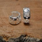 Handcrafted Flower Earrings Wide 6mm, 925 Sterling Silve Earrings, Silver Flower Hoop Earrings