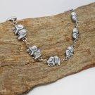 Silver Asia Elephant Bracelet, 925 Sterling Silver, Elephant Link Bracelet