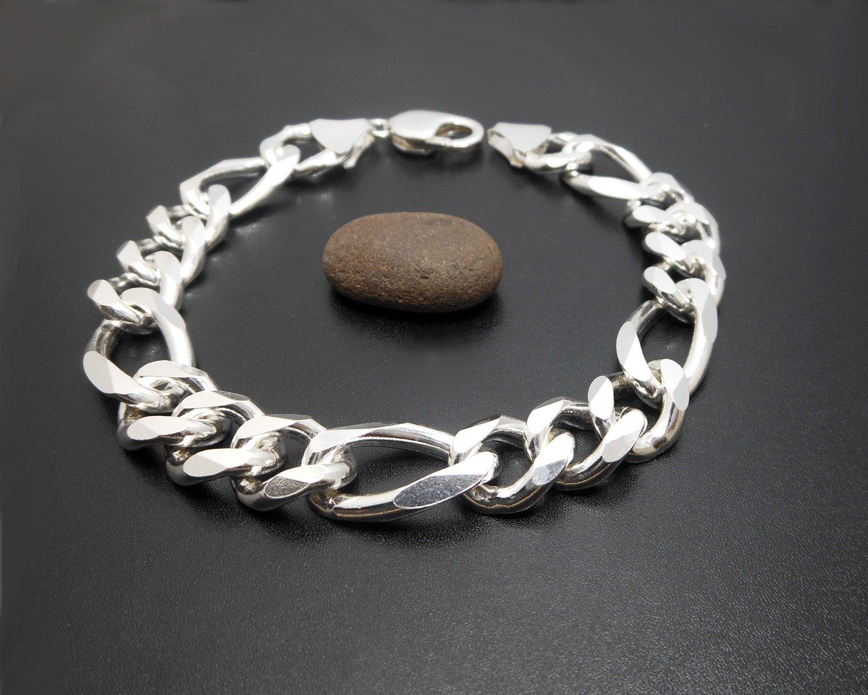 Figaro Mens Bracelet 12mm, 925 Sterling Silver, Figaro Link Chain Bracelet, Chain Link Bracelet