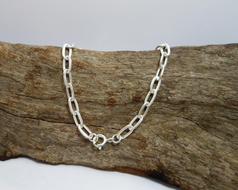 Flat Oval Cable Chain Bracelet, 925 Sterling Silver, Link Chain Bracelet 5mm