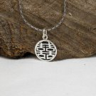 Minimalist Silver Pendant, 925 Sterling, Silver Lucky Charm, Chinese Character Pendant