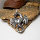 Silver Dragon Pendant, 925 Sterling Silver, Handmade Pendant, Dragon Charm 52mm, Animal Charm
