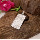 Sterling Silver Rectangle Dog Tag Charm With Pattern,Dog Tag Charm,Rectangle Tag Charm