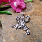 Cute 24 MM Handcraft Sterling Silver Black Jumping Frog Charm With Pattern,Frog Pendant