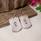 Double Sides Sterling Silver Rectangle Gender Symbol Tag Charm With Male & Female