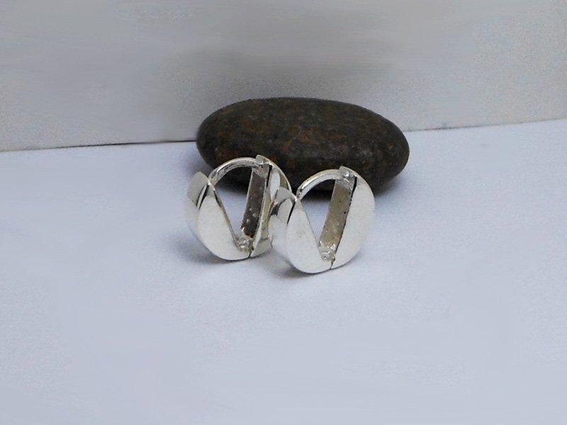 Sterling Silver V Button Hoop Earrings, Handmade V Button Hug Earrings