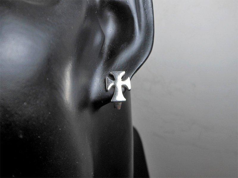 925 Sterling Silver Cross Earrings, Handmade Cross Hoop Earrings