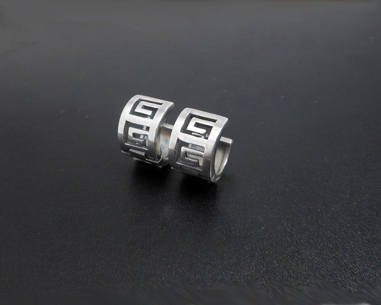 Greek Key Hug Earrings, 925 Sterling, Silver Earrings, Handmade Earrings