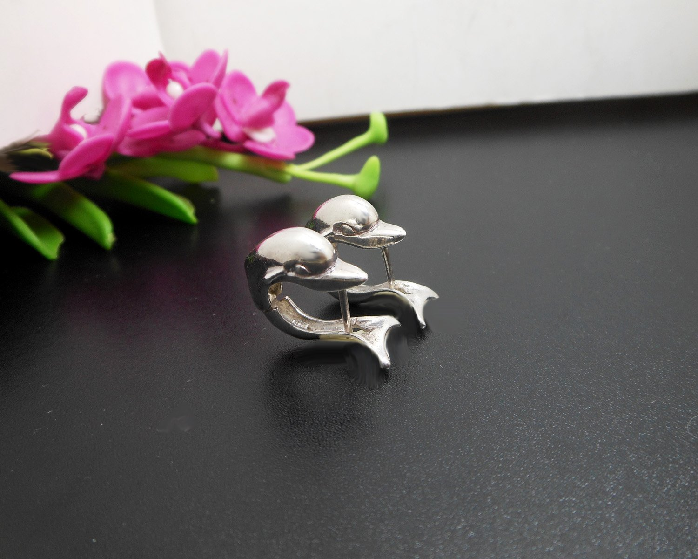 925 Sterling Silver Hug Earrings, Dolphin Earrings, Huggie Earrings