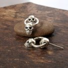 Double Alien Skull Earrings, Double Skull Stud Earrings, Sterling Silver Halloween Earrings