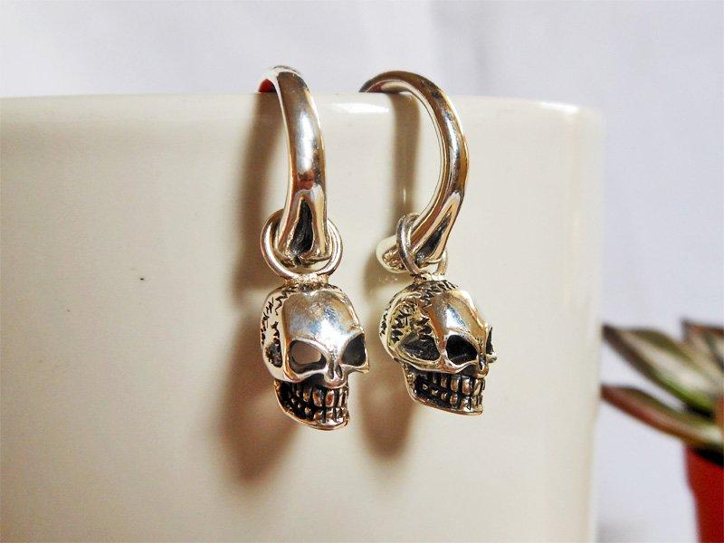 Men Silver Stitched Skull Earrings, Sterling Silver Skull Earrings