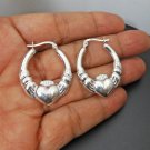 Textured Heart Hoop Earrings, 925 Sterling Silver Heart Earrings