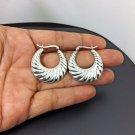 Shell Textured Hoop Earrings, 925 Sterling Silver, Textured Earrings