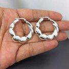 925 Sterling Textured Cut Hoop Earrings, Textured Silver Earrings