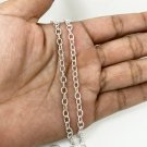 Unisex Sterling Silver Textured Cut Round Link Chain Necklace 4mm, 24""