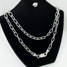 Unisex Sterling Silver Textured Cut Long Box Link Chain Necklace 3.8mm, 24""
