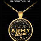Military Army Mom Jewelry Round Pendant Necklaces, Mothers Day Birthday Presents