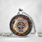 Firefighter Mom Jewelry Round Pendant Necklaces, Fireman Birthday Love Presents