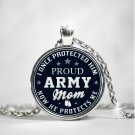 Military Army Mom Jewelry Round Pendant Necklaces, Mothers Day Birthday Present