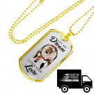 Let My Dream Catch Your Love Luxury Gold Dog Tag - Perfect Gift for Wife Husband Lovers