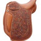 English dressage full tooled leather saddle 17''