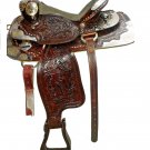 WESTERN HORSE LEATHER BLACK SHOW SADDLE 16""