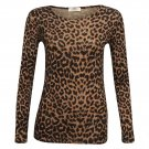 Women's Brown Leopard Print Long Sleeve Top Size M/L