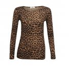Women's Brown Leopard Print Long Sleeve Top Size XL