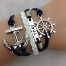 Love and Anchor Charm Bracelet in Silver - Navy blue Wax Cords and White Leather Braid Bracelet