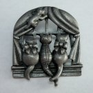 Vintage Cats at Window Brooch AJC