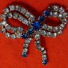 Rinestone Bow Brooch Vintage Pin